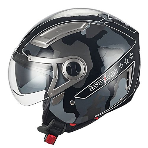 1STORM MOTORCYCLE OPEN FACE HELMET SCOOTER BIKE DUAL LENS/SUN VISOR GRAY ()