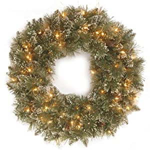 National Tree 30 Inch Glittery Bristle Pine Wreath with 50 Clear Lights (GB3-300-30W-1) 90