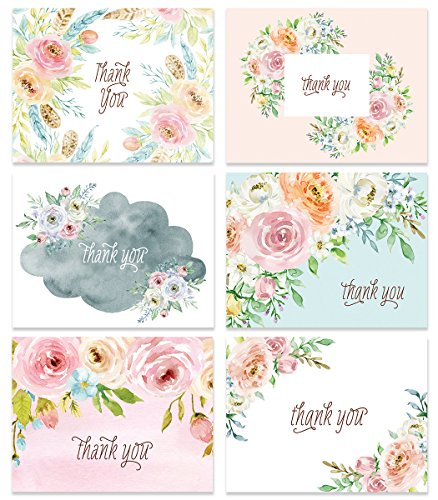 24 Thank You Greeting Cards Assorted Pastel Floral 6 Designs Any Occasion Wedding Baby Bridal Shower Anniversary Folded Notecards & Envelopes Blank Inside Personal Stationery Excellent Value VTA0006B Baby Shower Invitations Greetings
