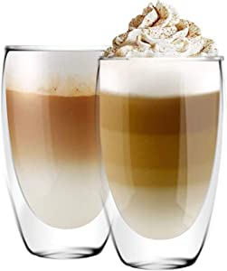 [6-Pack,15 Oz] DESIGN•MASTER - Premium Double Wall Insulated Glass, Coffee or Tea Glass Mugs, Thermo Insulated Glass, Perfect for Latte, Cappuccino, Americano and Tea