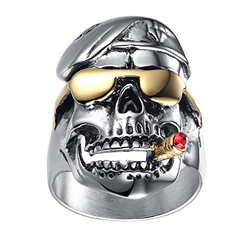 (LineAve Men's Stainless Steel Skull Pilot Soldier Ring, Size 8, 8h5056s08)