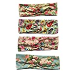JUST MODEL Women's Flower Printed Elastic Headwrap Knotted Soft Twisted Headband Colorful B