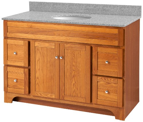 Foremost WROAT4821D-8M  Worthington 48-Inch Oak Bathroom Vanity with Meteorite Gray Granite Top and White Vitreous China Sink