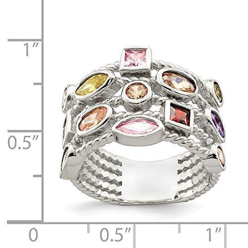 Sterling Silver Rhodium Plated Multi-Color Gem Multi-Shaped Bezel Set Gemstone 5-Strand Ring
