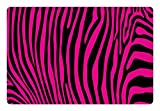Ambesonne Pink Zebra Pet Mat for Food and Water, Stylish African Animal Wilderness Pattern Jungle Mammal Fashion Boho Graphic, Rectangle Non-Slip Rubber Mat for Dogs and Cats, Hot Pink Black