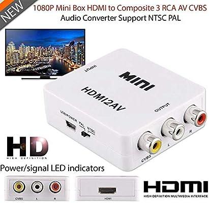 Adaptador HDMI a RCA Mini RCA Composite E-Universal 1080P CVBS HDMI a AV Video Audio Convertidor Adaptador con Cable de Carga USB para PC portátil Xbox PS4 PS3 TV cámara DVD: Amazon.es:
