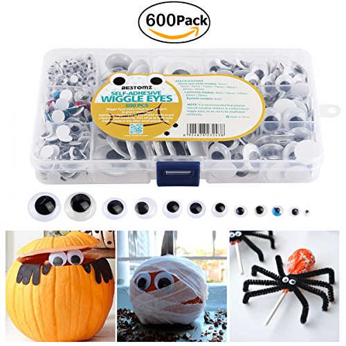 BESTOMZ Halloween Googly Eye Assorted 600 Pcs Wiggle Eyes Pack Self Adhesive with Storage Box for Creative Crafts (Halloween Silliness)