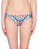 La Blanca Women's Side Shirred Hipster Bikini Swimsuit Bottom, White/Purple / Orange/Plaza De Espana Print, 4