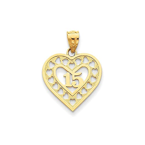 14k 15 In Cut Out Heart Frame Pendant