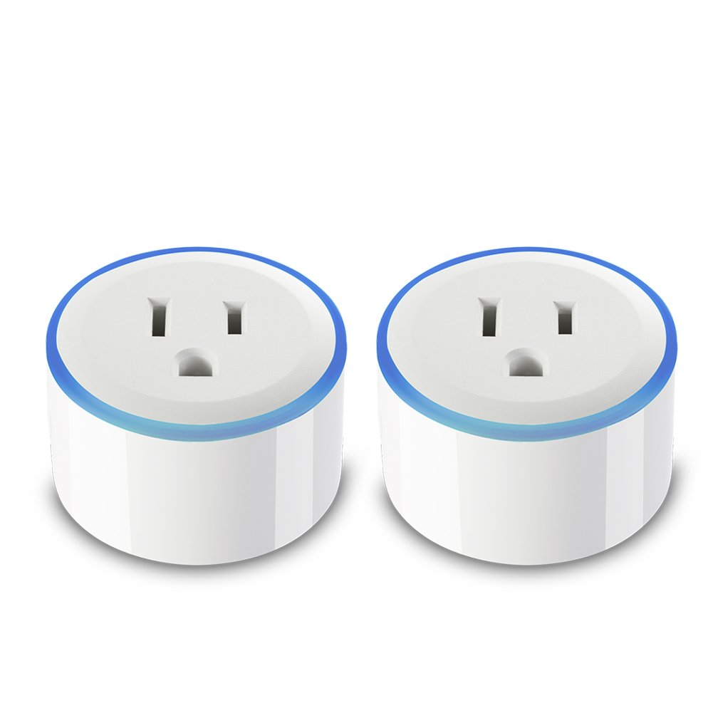 Smart Plug with RGB Night Light Ring, Compatible With Alexa & Google Home, DAILYCOMB Smart Outlet, Wi-Fi Enabled, App and Voice Control Anywhere and Anytime,No Hub Required, Easy Configuration(2 Pack)
