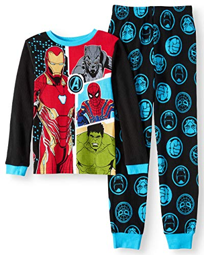 Avengers Boys Kids Toddler 2-Piece Thermal Lounge PJ Set (6) Blue