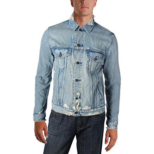 Polo Ralph Lauren Denim & Supply Ralph Lauren Mens Destroyed Button Down Denim Jacket Blue - Lauren Ralph Mexico Polo