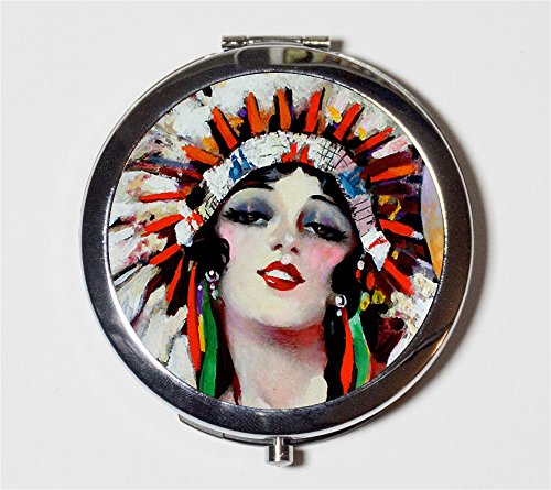 Flappers Makeup (Art Deco Native American Compact Mirror 1920s Jazz Age Flapper Indian Make Up Pocket Mirror for Cosmetics)