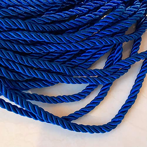 7mm Satin Twist Cord Royal Blue Decoration Trim Braided Shiny Cord Choker Thread Twine String Rope Supplies Price per 6 Yards