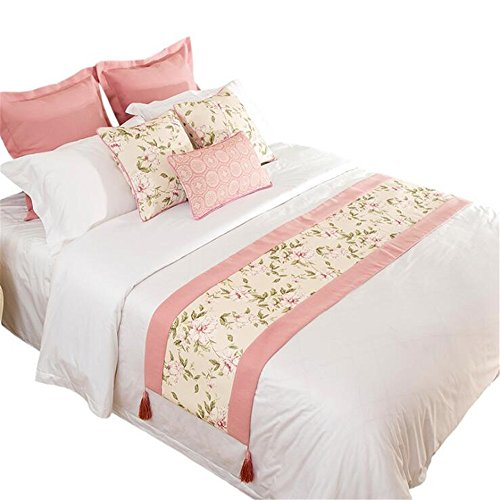 YIH Bed Scarf with Cushion Cover Sets of 3, Floral Bed Runner Protector Slipcover Pad for Pets,94