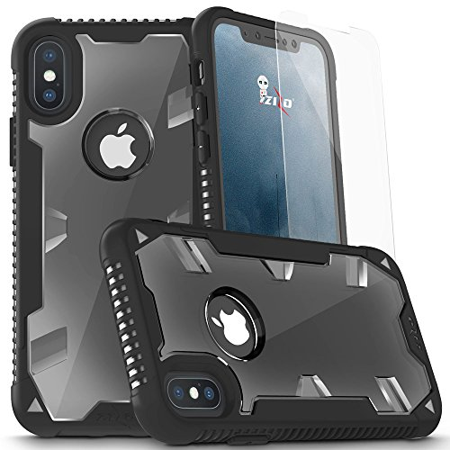 Zizo Proton 2.0 Series Compatible with iPhone X Case Military Grade Drop Tested with Tempered Glass Screen Protector iPhone Xs Case Black Clear