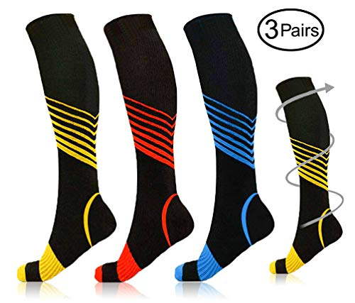 Compression Socks Yellow & red & Blue Stripes for Men & Women Compression Stockings (15-20 mmhg) Fit for Running Sports Athletic Shin Splints Travel Pregnancy Swelling Circulation & Recovery (L/XL)