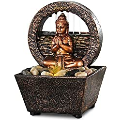 "Newport coast collection Small Tranquil Buddha LED Water Fountain 7.2"" High (No Adapter)"