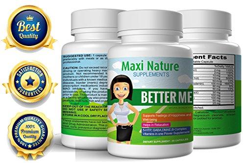 """""""Better Me"""" positive humeur Formula et du Supplément de soulagement du stress d'anxiété - augmenter la sérotonine hausse des pilules suppléments, vitamines du complexe B, niacinamide, acide folique, de calcium et de magnésium, gaba naturel, Dmae, 5-htp, A"""