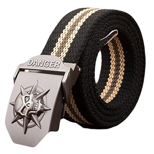 Ayli-Mens-Gothic-Skull-Tactical-Canvas-Web-Belt-Metal-Buckle-Black-Stripe-Fits-All-Pant-Sizes-Below-40-bt8a011bk120