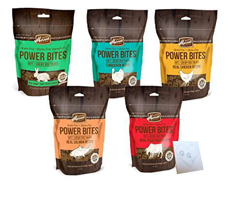 Merrick Beef Training Treats - Merrick Grain Free Power Bites Variety Pack - 5 Total Flavors: Chicken, Texas Beef, Turducken, Salmon, and Rabbit (5 Bags Total, 6oz Each)