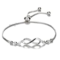 Shining Diva Fashion Infinity Crystal Charm Bracelet for Women and Girls
