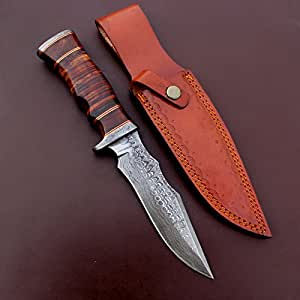 Handmade Damascus Steel Hunting Bowie Knife Leather Sheath outdoor camping 13 Inches vk5052