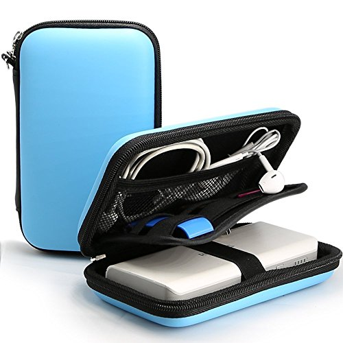 Power Bank Pouch, iMangoo Shockproof Carring Case Hard Protective EVA Case Impact Resistant USB Cable Organizer Sleeve Adapter Pocket Earphone Travel Wallet Pouch for Ravpower Anker Battery Pack Blue