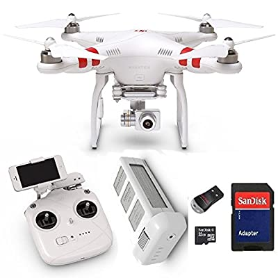 DJI Phantom 2 Vision+ V3.0 Quadcopter with FPV HD Video Camera and 3-Axis Gimbal plus 32 GB microSD Memory Card and Card Reader by DJI
