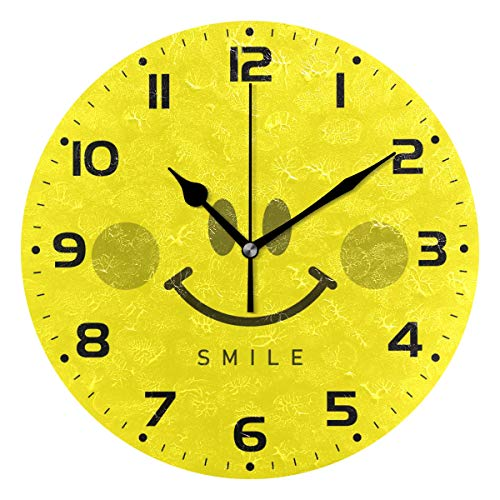 Naanle Smile Emoji Design Happy Smiley Face Emoticon On Yellow Round/Square/Diamond Acrylic Wall Clock Oil Painting Home Office School Decorative Creative Dual Use Clock Art ()