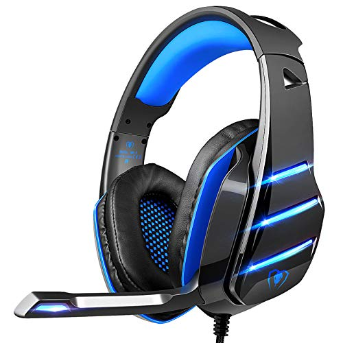 Gaming Headset for PS4 Xbox One, Beexcellent 3.5mm Wired Stereo Sound Over Ear Headphone with Noise Isolation Mic LED…