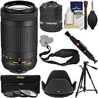 Nikon 70-300mm f/4.5-6.3G DX AF-P ED Zoom-Nikkor Lens with Tripod + 3 Filters + Hood + Pouch + Sling Strap + Kit