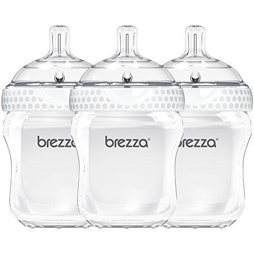 Baby Brezza Two Piece Natural Baby Bottle with Lid - Ergonomic, Wide Neck Design Makes it The Easiest to Clean - Modern Look - Anti-Colic - BPA Free Plastic - White Bottle - 9 Ounce - 3 Bottles