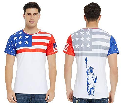 DAWILS Mens American Flag T-Shirt Patriotic Vintage Shirts Hipster Short Sleeve Hip Hop Tee Shirt (Large, American Flag 3) - Flag Patriotic Usa T-shirt