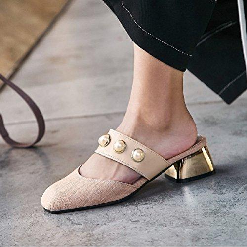 on Mocassins Mules Glissière Dos Slip Rose Sandales Fermeture Appartements Toe JITIAN Chaussures Nu Perles Paresseux Femmes D'été wt4EWq7