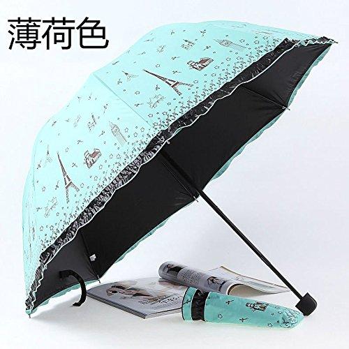 Sky Blue Windproof Anti-Uv Folding Rain Umbrella Korean Lacework Princess Parasol by Umbrella Compact