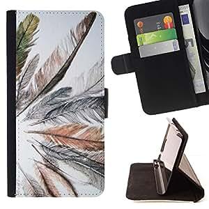 Momo Phone Case / Flip Funda de Cuero Case Cover - Gris Pájaro Pluma Primavera india - Samsung Galaxy S5 V SM-G900