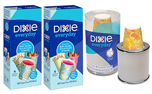 Dixie Cup Dual Dispenser & 5oz Dixie Cup 100 ct Pack of 2 - Great Cups For Kids, Snacks, And Everyday Use (Dixie Cup Dispenser 5 Oz)