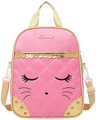 Moonmo Cute Cat Face Bow Diamond Bling Waterproof Pink School Backpack Girls Lunch bags (Pink)