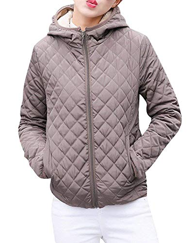 Femme Quilting Blouson lgant Automne Hiver paissir Chaud Blouson Transition Doux  Capuchon Court Confortable Fashion breal Outdoor Zip Long Manches Veste A Capuche Manteau Outerwear Kaki