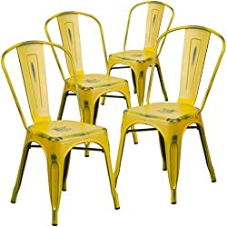 Flash Furniture 4 Pk. Distressed Yellow Metal Indoor-Outdoor Stackable Chair