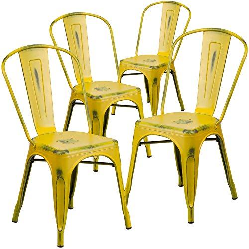 Flash Furniture 4 Pk. Distressed Yellow Metal Indoor-Outdoor Stackable Chair