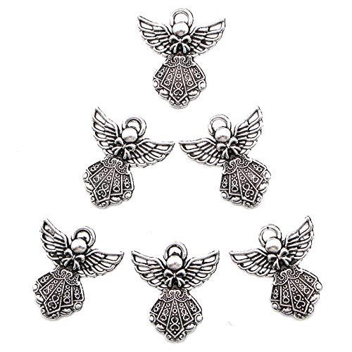 WSSROGY 100 pcs Antique Silver Angel Charms Pendants]()