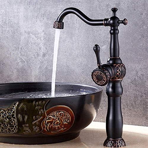 DXX-HR 美しく、耐久性のあるすべての銅の欧州新ブラックブロンズ彫刻浴室上記カウンター盆地盆地蛇口浴室の蛇口ホットとコールド