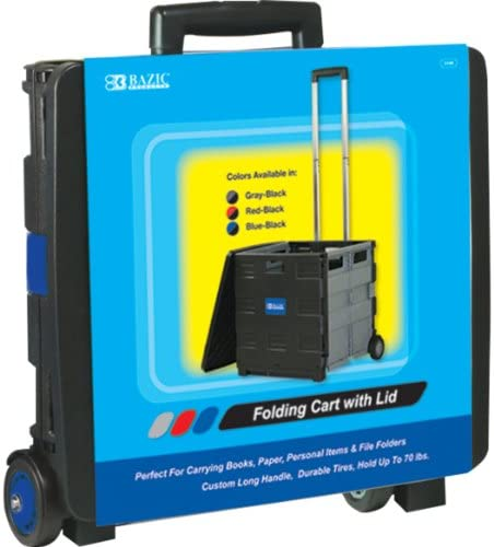 BAZIC 16 x 18 x 15 Inches Folding Cart on Wheels with Lid Cover, Blue 2197