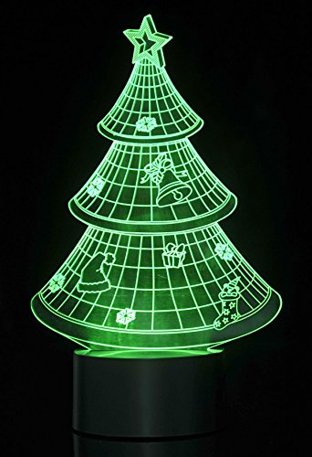 PowerTRC 3D LED Optical Illusion Christmas Tree Night Light Multi-colored USB Powered