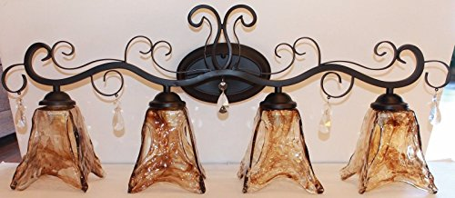 Bellagio Crystal (4 light Dark Bronze vanity light amber hand blown glass with crystals)