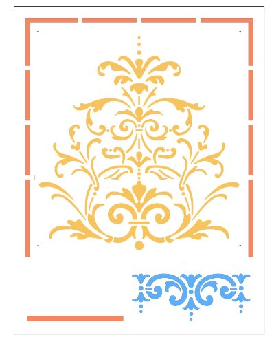 - Faux Like a Pro Victorian Baroque Stencil Panel, 13.75 by 18-Inch, Panel: 12.5 by 25-Inch, Border: 2.6-Inch High