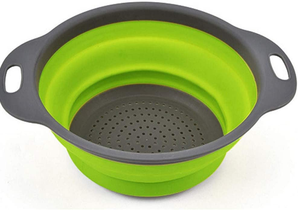 AOCK Set-1, Food-Grade Silicone Kitchen Space-Saver Folding Strainer Colander, Tool Foldable (Green), Middle,
