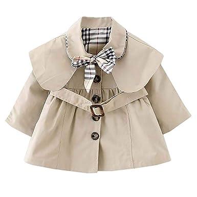 0aa68ebc46c6 Mallalah Bébé Fille Veste Manteau Trench Coat Sweat avec Ceinture Princesse  Enfant Parka Doudoune Cape Vêtement